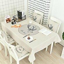 WAZY Tischdecke Staubdicht Europäischen Stil Einfachheit Mehrzweck Tischdecke Baumwollgewebe Druck Familie Esstisch Tee Tischdecke Tuch (Farbe : E, größe : 100*140cm/39.4*55.1in)