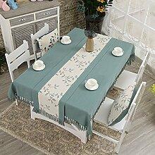 WAZY Tischdecke Tischfahne chinesischen Stil Floral Tischdecken Haushalt rechteckigen Baumwolle und Leinen Tischdecke Tischläufer 53,1 * 70,9 Zoll (Farbe : Blauer himmel)