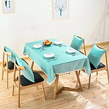 WAZY Tischdecke Tischtuch Retro Mehrzweck Tischdecke rutschfest Reine Farbe Spitze Polyester Mehrzweck Tischdecke Familie Esstisch Küche (110 X 160 cm) (Farbe : Blau, größe : 110*160cm)