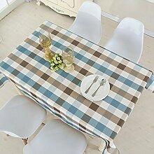 WAZY Tischdecke Tischtuch Wasserdicht Nordic Rechteck mehrzweck Einfache Tischdecke rutschfeste Baumwolltuch Leinen Familie Esstisch Küche (138 X 180 cm, Blau + Weiß) ( Farbe : Blau+Weiß , größe : 90*90cm )