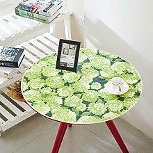 WAZY Tischtuch Stoff Tee Tischdecke wasserdicht Öl Hochtemperatur Baumwolle Druck PVC Kunststoff Tischdecke runden grünen Stoff (Farbe : J, größe : 120cm)
