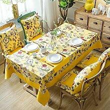 WAZY Tischtuch Tischdecke chinesischen Stil klassischen Mehrzweck Tischdecke Baumwolle und Leinen Blumen Design Abdeckung Tuch Familie Esstisch dekorative Tuch ( Farbe : Gelb , größe : 140*220cm/55.1*86.6in )