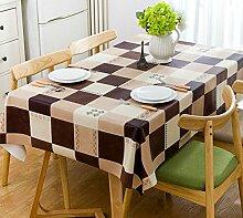 WAZY Vinyl Plaid Rechteckige Tischdecke Wasserdicht Anti-Öl Abwischen Tischabdeckung für Kicthen Brown (Farbe : B)