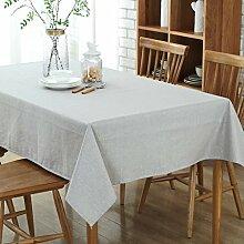 WAZY Waschbar Rechteckige Tischdecke Europäischen Einfache Couchtisch Baumwolle Leinen Tischdecke Wasserdicht Home Hotel Tischdecke (200x130 cm) (Farbe : Grau)