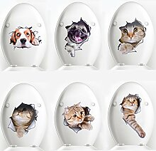 Wc Aufkleber, Legendog 6 Stück Hund Katze 3d Aufkleber Set Sticker für Kinderzimmer Auto Badezimmer Küche Wohnzimmer Kinder Schlafzimmer Esszimmer Büro Wand Mac Laptop Mülltonnen