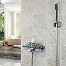 WC Dusche Wasserhahn Chrom Messing und Glas