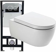 Sp/ülrandloses WC 1088R inkl Softclose Deckel Softclose-Sitz:Mit Standard LED-Nachtlicht