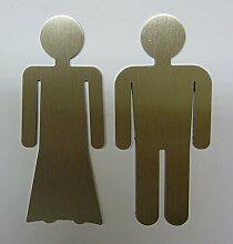 WC-Symbol Set in Edelstahl Mann & Frau Türschild