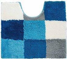 WC-Vorleger Badematte Badvorleger TIZIANA 44 | Blau-Türkis-Weiß | 50x55 cm | Acryl