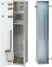 WC Wandcontainer Weiß/Edelstahl Glastür links WC