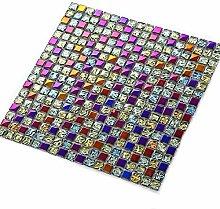 Wchaoen 11 Stücke Bunte Glasmosaik Wandfliesen
