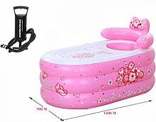 WCUI Aufblasbare Badewanne Verdickung Kunststoff Fold Einfache Haushalt Kinderbadezimmer Bad Bad Badewanne Badewanne Fass Badewanne Wählen ( Farbe : Pink , größe : 90*160cm )