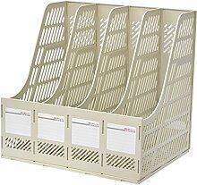 WCUI Büro Bürobedarf Vier Spalten File Box-Dateien Rack-Datei Shelf-Datei Bar File Shelf Regal Wählen ( Farbe : Weiß )