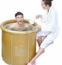 WCUI Einfache Erwachsene Stent Falte Inflated Badewanne 65 * 75cm Dicker Kunststoff Erwachsene Bad Barrel Kinder Waschbecken Bad Zylinder Wählen ( Farbe : Gelb )