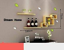 WCUI Kreative Racks, einfache moderne Kombination Schlafzimmer Wohnzimmer Holz Kiefer TV Hintergrund Wand Free Punch Umweltstarke und dauerhafte Dekoration Wählen ( Farbe : A )