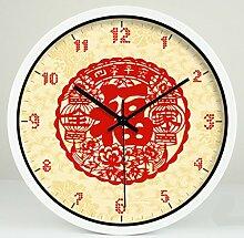 WCUI Kunst Vier Jahreszeiten Safe Familie Quiet Stumm Quarz Uhr stumm das Wohnzimmer mit Wanduhr dekoriert Wählen Sie ( Farbe : Weiß , größe : L )