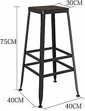 WCUI Massivholz Bar Stuhl, Bar Hocker Hocker Bar Stuhl Empfang Stuhl Haushalt Stuhl Hochstuhl Hochhocker Modern Einfach Eisen Wählen Sie ( Farbe : #2 , größe : 75cm )