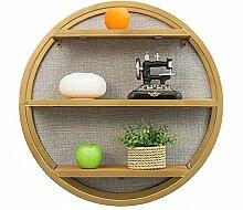 WCUI Massivholz runde Regal, kreative Eisen Wohnzimmer Wand hängende Bücherregal auf der Wand dekorative Rahmen Bar Store Wand Display Stand 60 * 16 * 60cm Wählen ( Farbe : Gold )