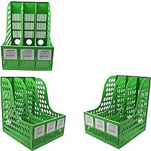 WCUI Office auf dem Tisch File Shelf 3 Spalten Speicher Rack File Box Dateien Rack File Bar Datei Basket Wählen ( Farbe : Grün )