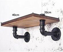 WCUI Regal, Lagerung Rack Massivholz Kreativ Auf Der Wand Regal Industrie Eisen Bar Rohr Wand L30 / 40/50 * W20cm Wählen ( größe : 40 cm )