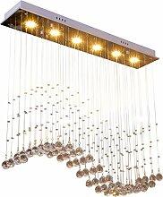 Wcui Restaurant Crystal Led Kronleuchter, drei Köpfe Rechteck Wohnzimmer Kronleuchter 3-6 Kopf drei Farben drehen Licht Lampe Dekoration Wählen Sie ( größe : 80*20*80CM )