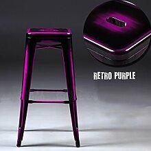 WCUI Retro Bar Bank, kreativ Loft Front Desk High Hocker Bügeleisen Vorderseite Stuhl Bar KTV Restaurant Hocker Freizeit und Unterhaltung Hocker sitzen hoch 61-76cm (mehrere Farben erhältlich) Wählen Sie ( Farbe : A , größe : 43x43x76cm )