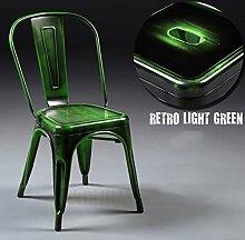WCUI Retro Eisen-Sessel, kreativer Loft-Esszimmer-Stuhl bilden alte Stühle europäische Art-Metallkaffee-Stab-Metallstuhl-Freizeit-Produktion Unterhaltung Vereine Dekoration-Stuhl 44 * 47 * 85cm Wählen Sie ( Farbe : J )