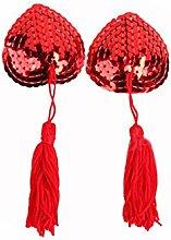 Wcui Sexy Lingerie Zubehör Brust Paste Milch Quaste Paste Heart-shaped reizvolle Wäsche-Accessoires Sexy ( Farbe : Rot )