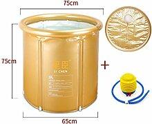 WCUI Stent Fold Bad Wanne Dicker Kunststoff 65 * 75cm Erwachsene Folder Net Bad Barrels Waschbecken Inflated Einfache Bad Fässer Wählen (Farbe : Gold)