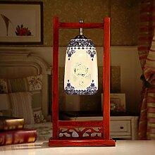 WCUI Tischlampe, Blau und Weiß Dekoration, Wohnzimmer, Schlafzimmer, Bett, Massivholz, Tischleuchte aus Keramik Wählen Sie