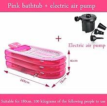 WCUI Übergroße verlängerte aufblasbare Badewanne Erwachsene Verdickung Badewanne Fold Bath Barrel Kunststoff Badewanne Fass Mu Bad Waschen Bad Fass Wählen ( Farbe : Pink )