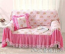 WDBS Deckglas Sofa Handtuch Spitzen rosa Baumwolle Slipcover Sofabezug , 180*300cm