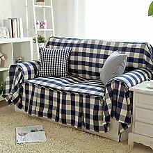 WDBS Plaid Stoff Baumwolle Slip Sofa Stoff Sofa Sofabezug blau , 180*260cm