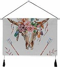 WDDHOME Bett Tapisserie Stierkopf mit Blumen und