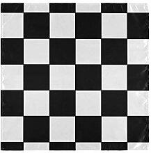 WDDHOME Lustige Servietten Schwarz-Weiß-Gitter