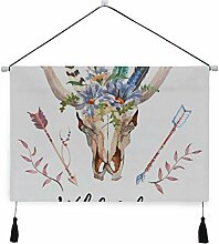 WDDHOME Tapisserie Wandkunst Stierkopf mit Blumen