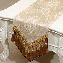 Wddwarmhome Beige Tischläufer Mode Einfache Tisch Tischdecke Wohnzimmer Couchtisch Tuch (nur Verkauf Tischläufer) 33 * 230cm