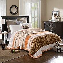 Wddwarmhome Beige Warme Decke Streifen Muster Schlafzimmer Bettdecke Decke Raschel Decke Freizeitdecke Polyester Material Wolldecke ( größe : 180*200cm )