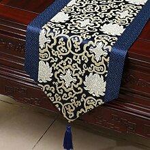 Wddwarmhome Blau Klassische Retro Muster Tischläufer Tischdecke Couchtisch Stoff Bett Flagge Schrank Flagge Tischplatte Lange Tischdecke (nur Verkauf Tischläufer) 33 * 200cm