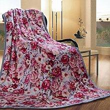 Wddwarmhome Blau Warme Decke Rosa Pflanze Blumenmuster Schlafzimmer Bettdecke Wohnzimmer Freizeitdecke Größe: 180 * 200 cm Wolldecke