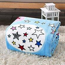 Wddwarmhome Blau Warme Decke Sternform Muster Schlafzimmer Bettdecke Decke Wohnzimmer Freizeitdecke Polyester Material Wolldecke