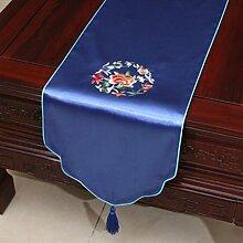 Wddwarmhome Blaue Stickerei Pastoral Tischläufer Seide Satin Tischdecke Couchtisch Stoff Bett Flagge Schrank Flagge Tischplatte Lange Tischdecke (nur Verkauf Tischläufer) 33 * 230cm