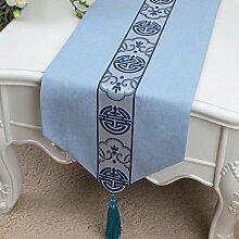 Wddwarmhome Blaue Tischläufer Mode Einfache Tisch Tischdecke Wohnzimmer Couchtisch Stoff Bett Flagge (nur Verkauf Tischläufer) 33 * 180cm