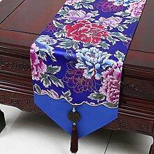 Wddwarmhome Blaue Tischläufer Stickerei Tuch Pflanze Blume Tischdecke Wohnzimmer Couchtisch Tuch Tisch Matte (nur Verkauf Tischläufer) 33 * 230cm