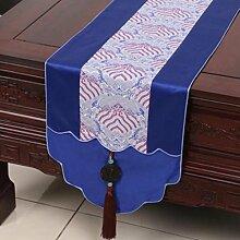 Wddwarmhome Blue Table Runner Pastoral Jacquard Tischdecke Couchtisch Stoff Bett Flagge Schrank Flagge Lange Tisch Tischdecke (nur Verkauf Tischläufer) 33 * 180cm