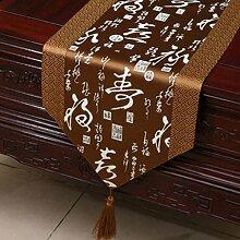 Wddwarmhome Brown Klassische Retro Muster Tischläufer Tischdecke Couchtisch Stoff Bett Flagge Schrank Flagge Tischplatte Lange Tischdecke (nur Verkauf Tischläufer) 33 * 230cm