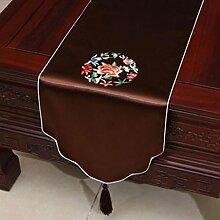 Wddwarmhome Brown Stickerei Pastoral Tischläufer Seide Satin Tischdecke Couchtisch Stoff Bett Flagge Schrank Flagge Tischplatte Lange Tischdecke (nur Verkauf Tischläufer) 33 * 230cm