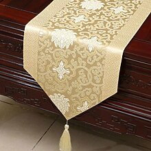 Wddwarmhome Creme Farbe Klassische Retro Muster Tischläufer Tischdecke Couchtisch Stoff Bett Flagge Schrank Flagge Tischplatte Lange Tischdecke (nur Verkauf Tischläufer) 33 * 200cm