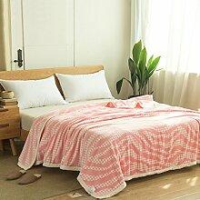 Wddwarmhome Decke Polyester Material Schlafzimmer Bettdecke Vier Jahreszeiten Freizeit Decke Weichen Und Bequemen Zweifarbige Optional Wolldecke ( Farbe : Pink , größe : 150*200 cm )