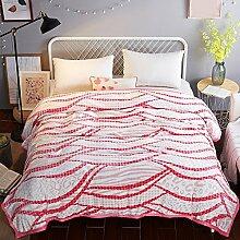 Wddwarmhome Decke Schlafzimmer Bett warme Decke rote Streifen vier Jahreszeiten Freizeit Decke Wolldecke ( größe : 230*250 cm )